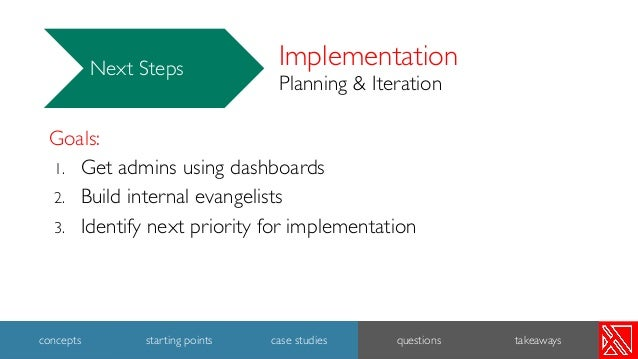 Implementation Planning & Iteration Next Steps Goals: 1. Get admins using dashboards 2. Build internal evangelists 3. Iden...