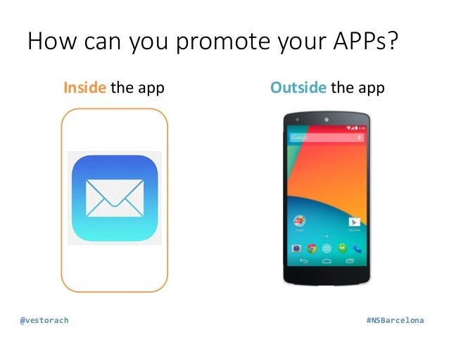 How can you promote your APPs? Outside the app WEB PAGE  SOCIAL MEDIA  ADS  PR  @vestorach  #NSBarcelona