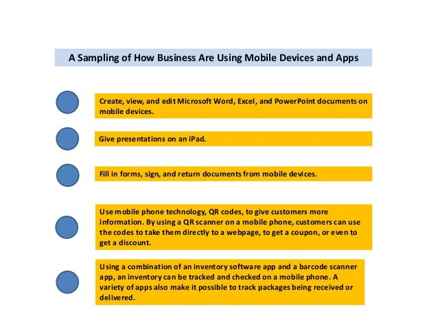 A Sampling of How Business Are Using Mobile Devices and Apps  Create, view, and edit Microsoft Word, Excel, and PowerPoint...