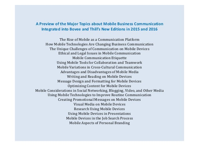 A Preview of the Major Topics about Mobile Business Communication  Integrated into Bovee and Thill's New Editions in 2015 ...