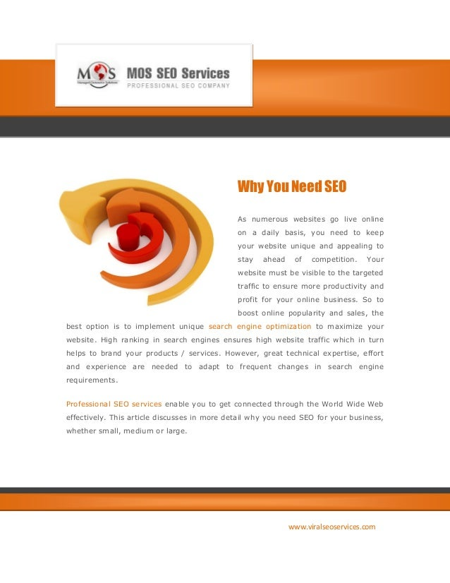 Why You Need SEO                                              As numerous websites go live online                         ...
