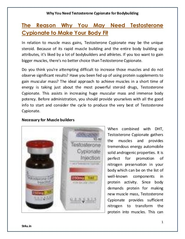 Why you need testosterone cypionate for bodybuilding