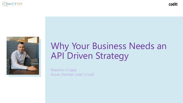 Why Your Business Needs an API Driven Strategy Massimo Crippa Azure Domain Lead | Codit
