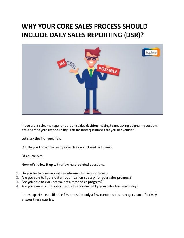 why your core sales process should include daily sales reporting dsr