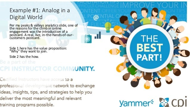 Example #1: Analog in a Digital World Per my peaks & valleys analytics slide, one of the reasons for the climb in online e...