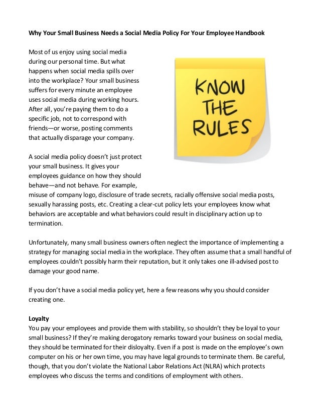 Why Your Small Business Needs a Social Media Policy For Your Employee…