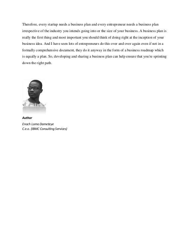 Why your start up needs a business plan pdf enoch dameteye – Entrepreneurship Business Plan Pdf