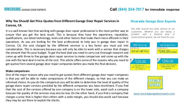 Why You Should Get Price Quotes From Different Garage Door