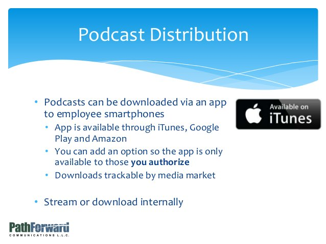 • Podcasts can be downloaded via an app to employee smartphones • App is available through iTunes, Google Play and Amazon ...