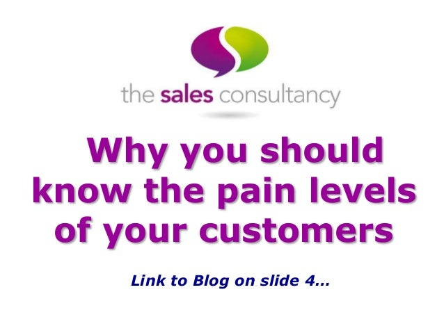 Why you should know the pain levels of your customers Link to Blog on slide 4…