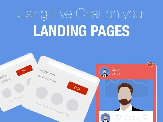 Using Live Chat on your LANDING PAGES x adline -headline CTA List of product benefits HeadlineSub-headline CTA List of prod...
