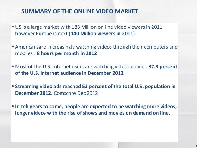 SUMMARY OF THE ONLINE VIDEO