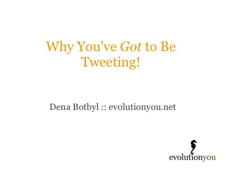 Why You've  Got  to Be Tweeting! Dena Botbyl :: evolutionyou.net
