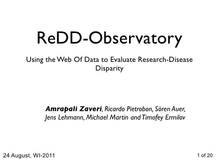 ReDD-Observatory       Using the Web Of Data to Evaluate Research-Disease                           Disparity             ...