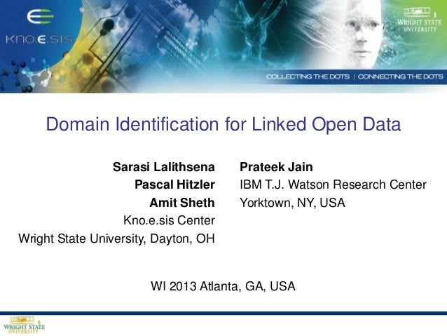 Domain Identification for Linked Open Data Sarasi Lalithsena Pascal Hitzler Amit Sheth Kno.e.sis Center Wright State Unive...