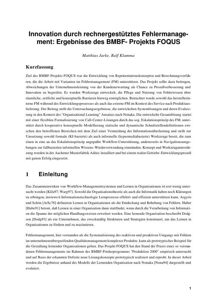 Innovation durch rechnergestütztes Fehlermanage-     ment: Ergebnisse des BMBF- Projekts FOQUS                            ...
