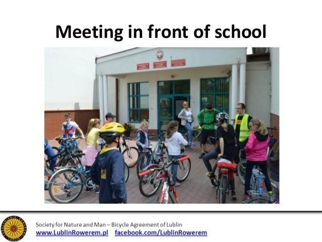 Meeting in front of school