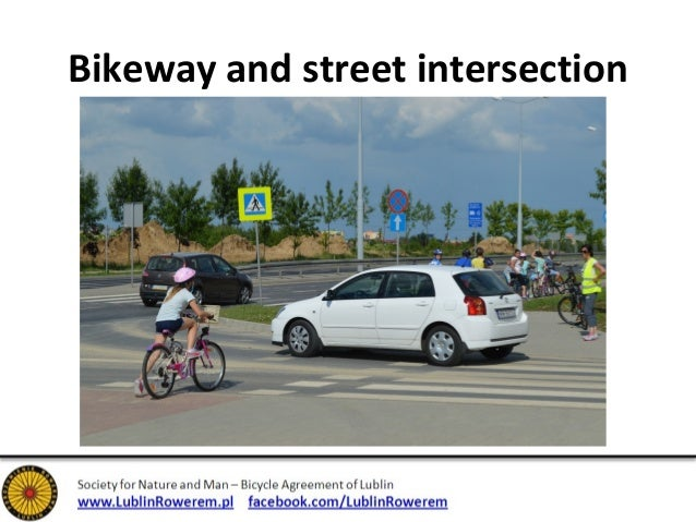 Bikeway and street intersection