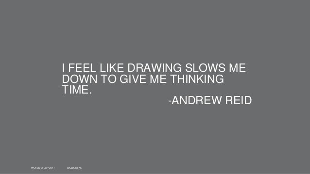 WORLD IA DAY 2017 @CWODTKE I FEEL LIKE DRAWING SLOWS ME DOWN TO GIVE ME THINKING TIME. -ANDREW REID