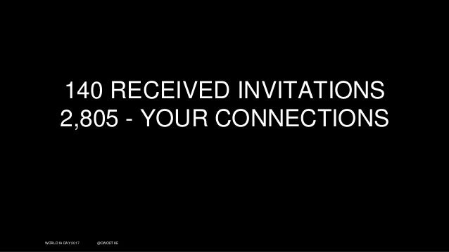 WORLD IA DAY 2017 @CWODTKE 140 RECEIVED INVITATIONS 2,805 - YOUR CONNECTIONS