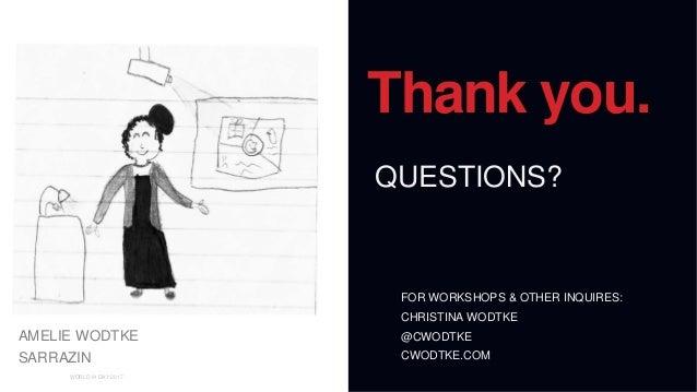 01 WORLD IA DAY 2017 Thank you. QUESTIONS? FOR WORKSHOPS & OTHER INQUIRES: CHRISTINA WODTKE @CWODTKE CWODTKE.COM AMELIE WO...
