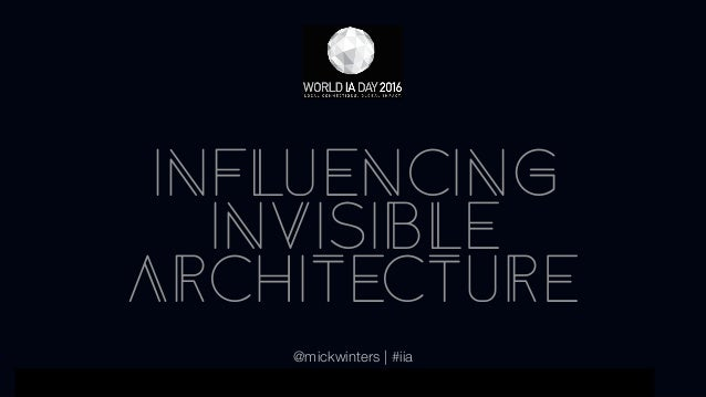 01 WORLD IA DAY 2015 PRESENTATION TITLE HERE INFLUENCING INVISIBLE ARCHITECTURE @mickwinters | #iia