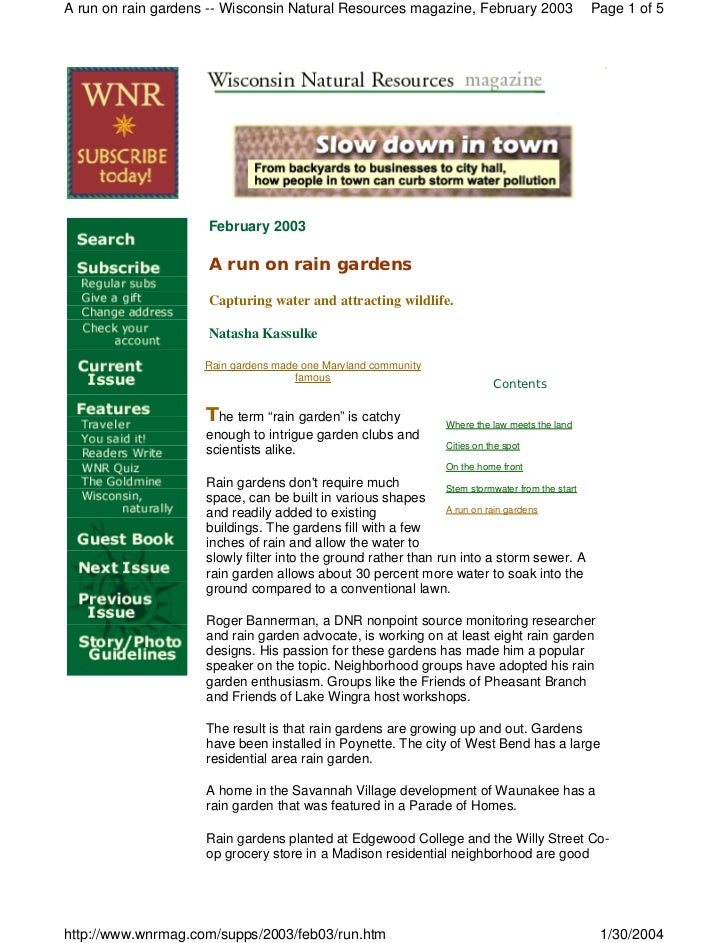 A run on rain gardens -- Wisconsin Natural Resources magazine, February 2003                      Page 1 of 5             ...