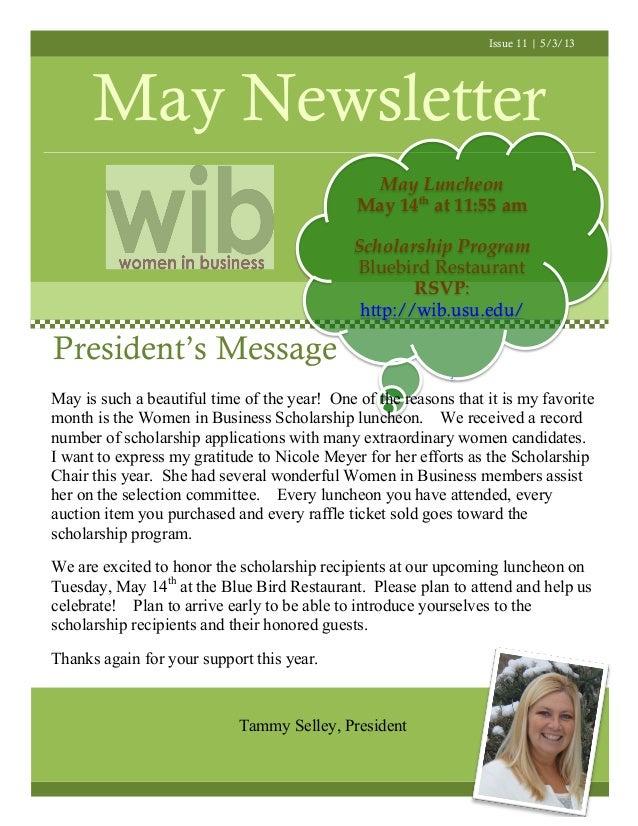 Issue 11 | 5/3/13May NewsletterPresident's MessageMay LuncheonMay 14that 11:55 amScholarship ProgramBluebird RestaurantRSV...