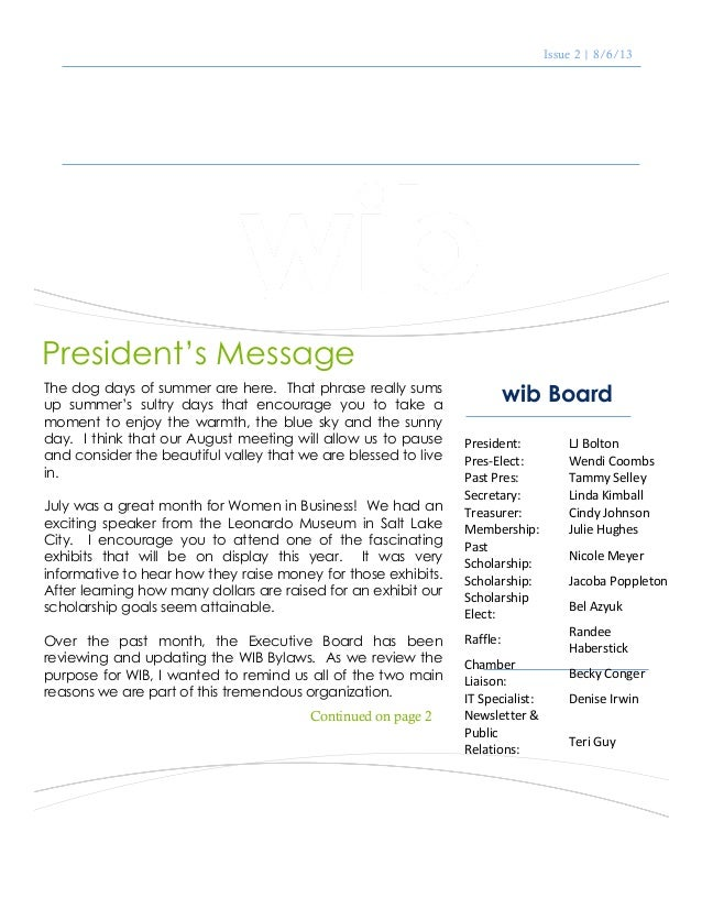 "Issue 2 | 8/6/13 August 2013 Newsletter wib Board ""If you have knowledge, let others light their candles in it."" Margaret ..."