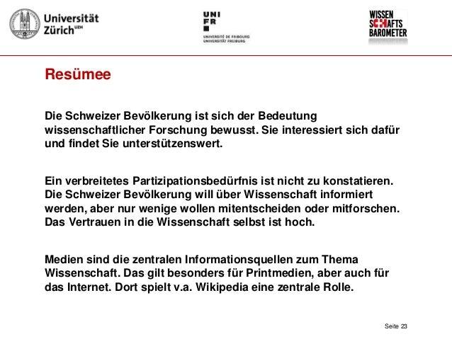 Wissenschaftsbarometer Schweiz Ergebnisse Und Perspektiven