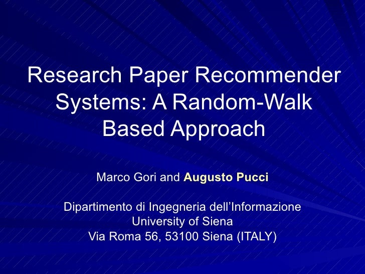Random walk research papers