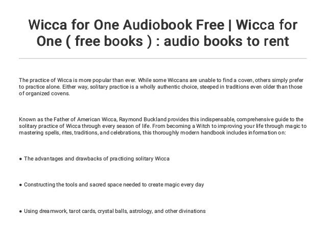 Wicca for One Audiobook Free | Wicca for One ( free books