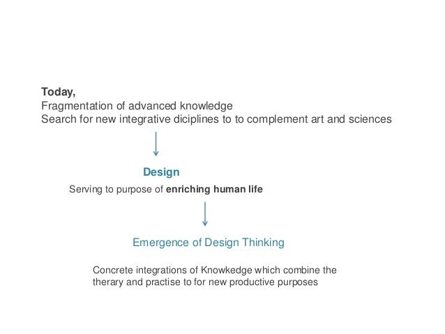 Today, Fragmentation of advanced knowledge Search for new integrative diciplines to to complement art and sciences Emergen...