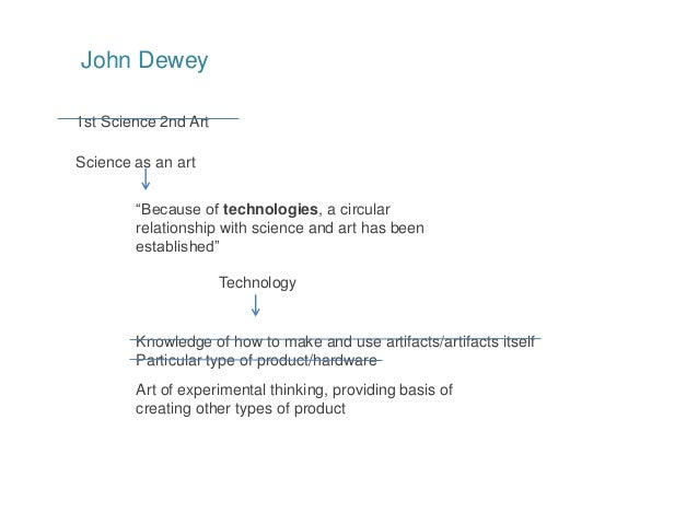 """1st Science 2nd Art John Dewey Science as an art """"Because of technologies, a circular relationship with science and art ha..."""