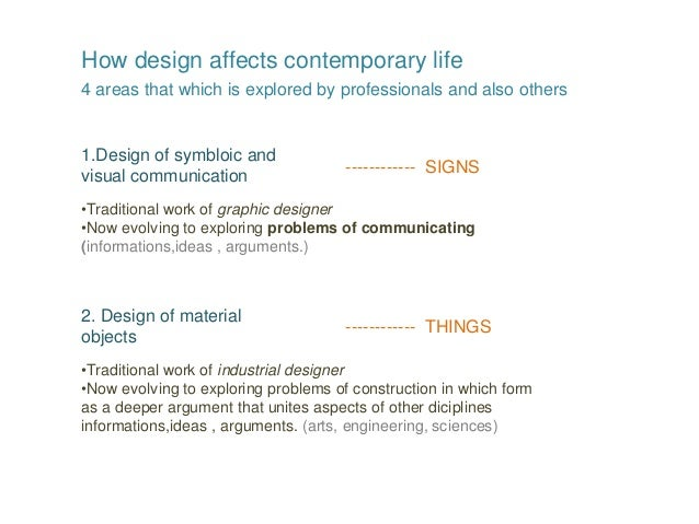 How design affects contemporary life 4 areas that which is explored by professionals and also others 1.Design of symbloic ...