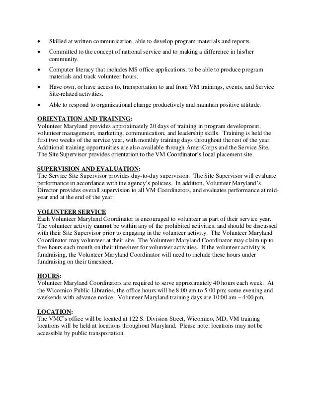 wicomico county free library volunteer maryland coordinator position