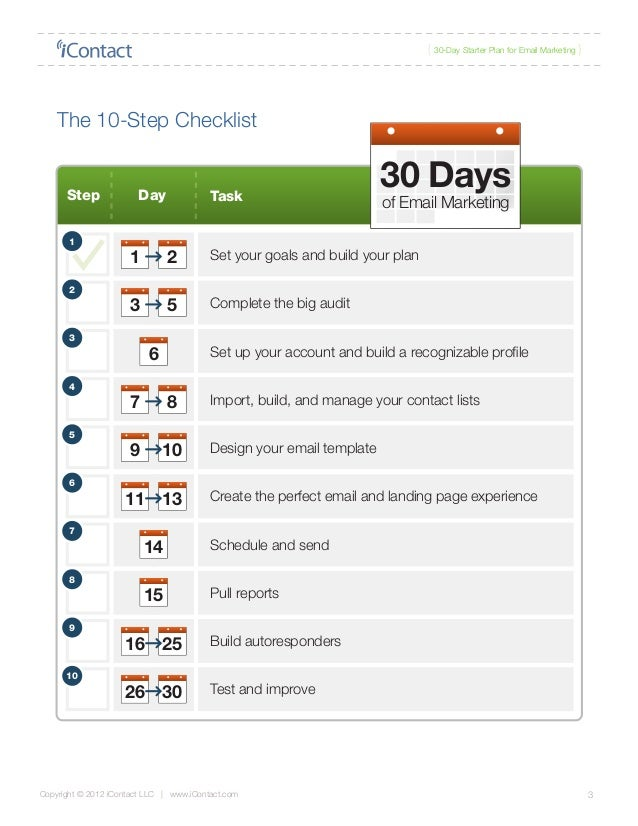 Email Marketing Plan for 30 days | icontact