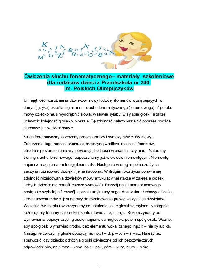 Ćwiczenia słuchu fonematycznego– materiały szkoleniowe dla rodziców dzieci z Przedszkola nr 240 im. Polskich Olimpijczyków...
