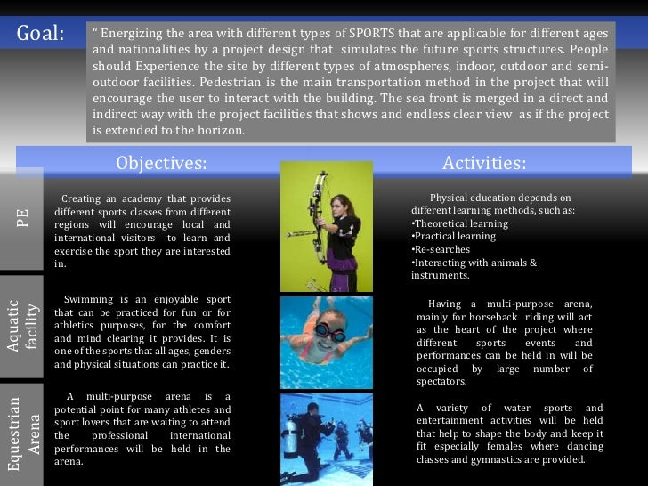"""Goal:             """" Energizing the area with different types of SPORTS that are applicable for different ages             ..."""