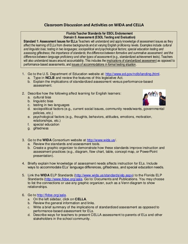 Classroom Discussion and Activities on WIDA and CELLA Florida Teacher Standards for ESOL Endorsement Domain 5: Assessment ...