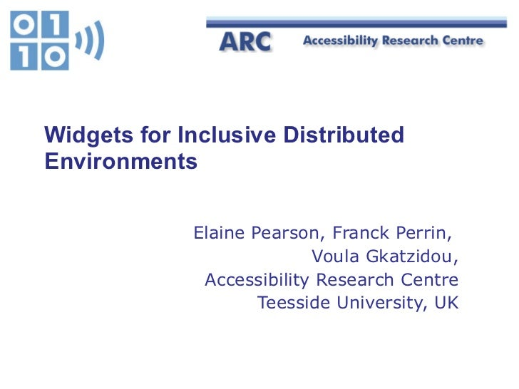 Widgets for Inclusive Distributed Environments Elaine Pearson, Franck Perrin,  Voula Gkatzidou, Accessibility Research Cen...