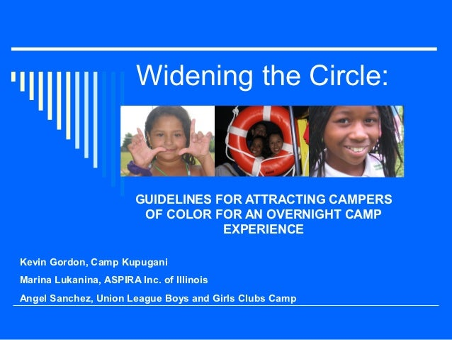 Widening the Circle:                        GUIDELINES FOR ATTRACTING CAMPERS                         OF COLOR FOR AN OVER...