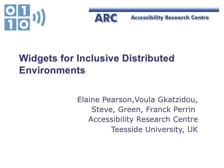 Widgets for Inclusive Distributed Environments Elaine Pearson,Voula Gkatzidou, Steve, Green, Franck Perrin  Accessibility ...