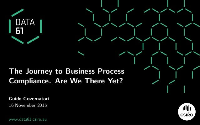 The Journey to Business Process Compliance. Are We There Yet? Guido Governatori 16 November 2015 www.data61.csiro.au