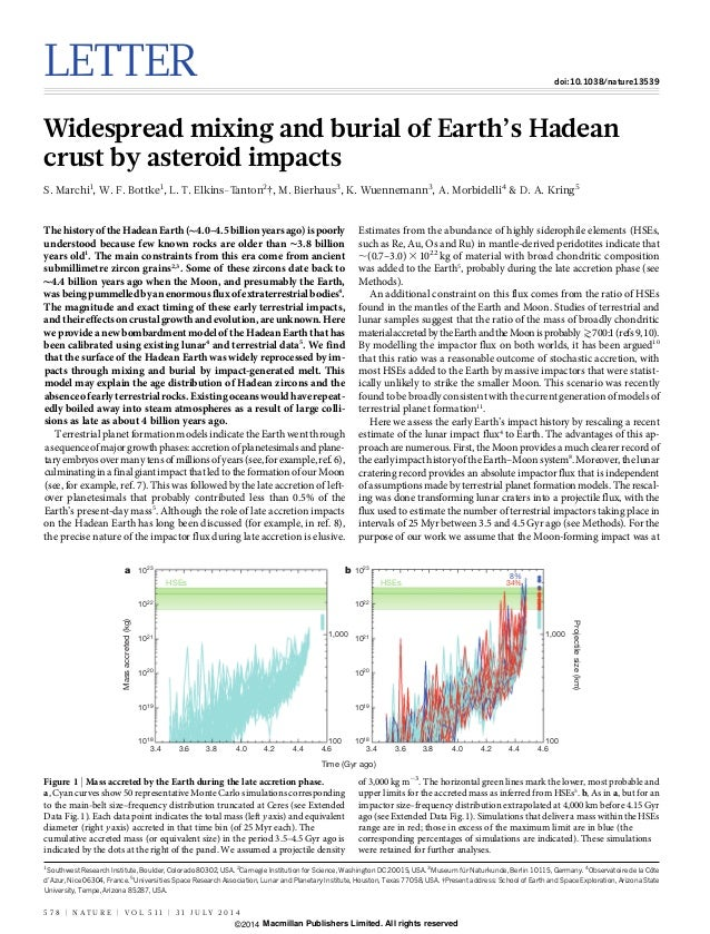 LETTER doi:10.1038/nature13539 Widespread mixing and burial of Earth's Hadean crust by asteroid impacts S. Marchi1 , W. F....
