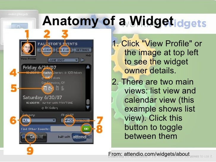 Anatomy of a Widget <ul><li>1. Click &quot;View Profile&quot; or the image at top left to see the widget owner details.  <...