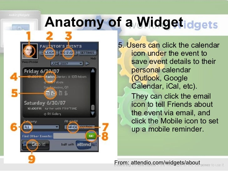 Anatomy of a Widget <ul><li>5. Users can click the calendar icon under the event to save event details to their personal c...