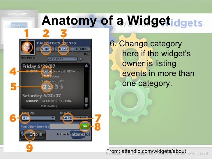 Anatomy of a Widget <ul><li>6. Change category here if the widget's owner is listing events in more than one category.  </...