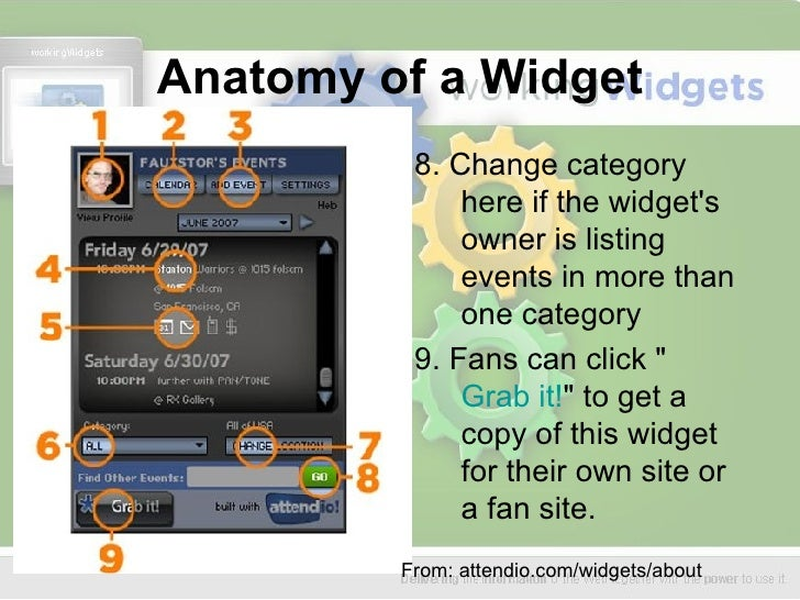 Anatomy of a Widget <ul><li>8. Change category here if the widget's owner is listing events in more than one category  </l...