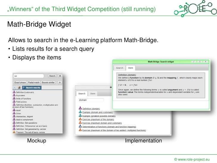 """Winners"" of the Third Widget Competition (still running)Math-Bridge WidgetAllows to search in the e-Learning platform Mat..."